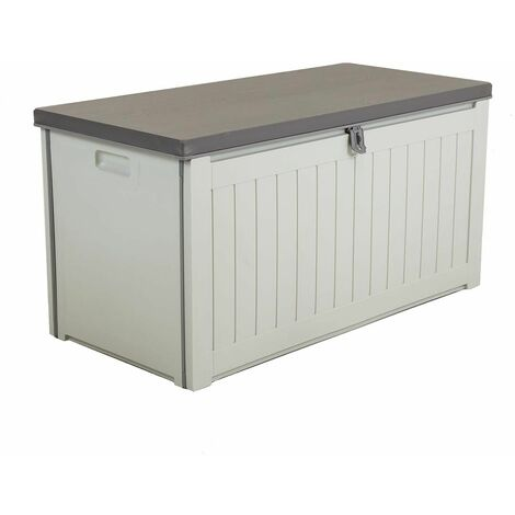 Charles Bentley 190L Outdoor Garden Plastic Storage Box, Beige/Grey - Beige, Grey