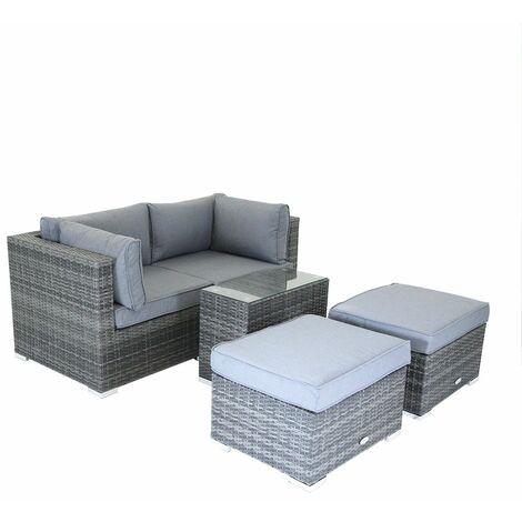 Charles Bentley 2/3 Seater Multi Use Rattan Lounge Set Love Seat Footstools Tabl