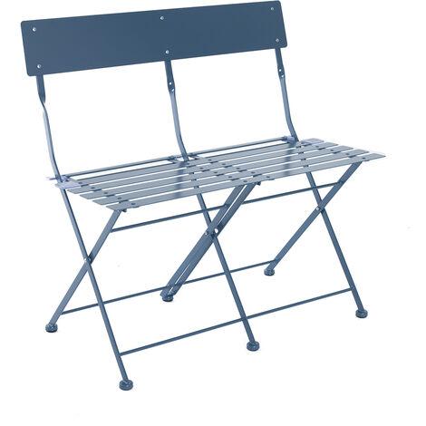 Charles Bentley 2 Seater Folding Metal Bistro Bench Garden Seat Chair - Navy - Blue
