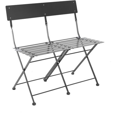 Charles Bentley 2 Seater Folding Metal Bistro Garden Patio Bench - Dark Grey - Dark Grey