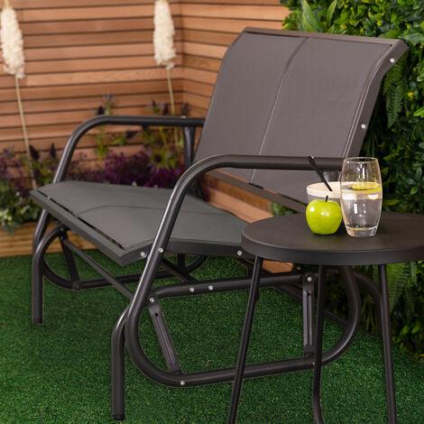 Charles Bentley 2 Seater Glider Rocking Bench With Mesh Seat - Grey