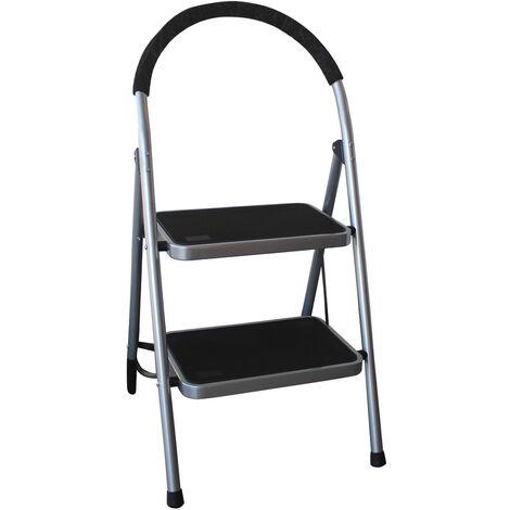 Charles Bentley 2 Step Tread Folding Household Step Ladder Lightweight Safety