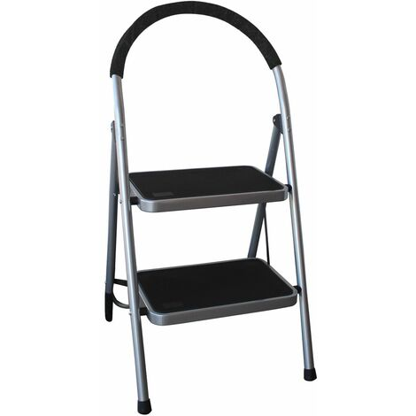 Charles Bentley 2 Step Tread Folding Household Step Ladder Lightweight Safety - Grey