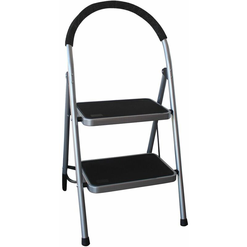 Image of 2 Step Tread Folding Household Step Ladder Lightweight Safety - Grey - Charles Bentley