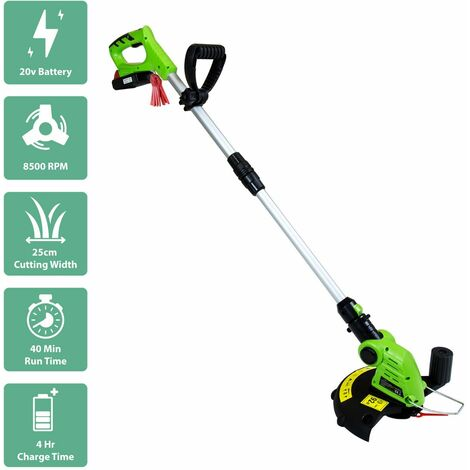 Charles Bentley 20V Portable Cordless Grass Trimmer & Edger Lawn Cutter - Green - Green