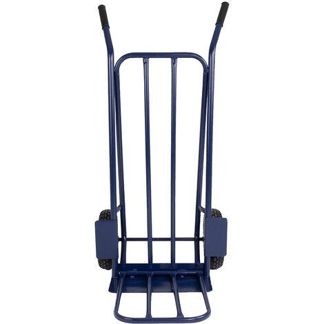 Charles Bentley 270 kg Heavy Duty Folding Blue Sack Truck Trolley Pneumatic Tyre