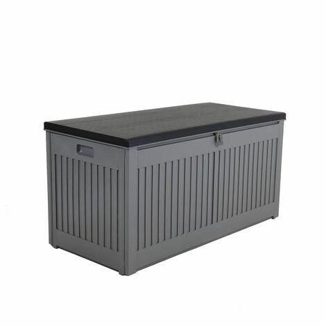 Charles Bentley 270L Outdoor Garden Plastic Storage Box, Grey/Black - Black, Grey