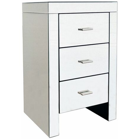 Charles Bentley 3 Drawer Contemporary Mirrored Bedside Table - Silver