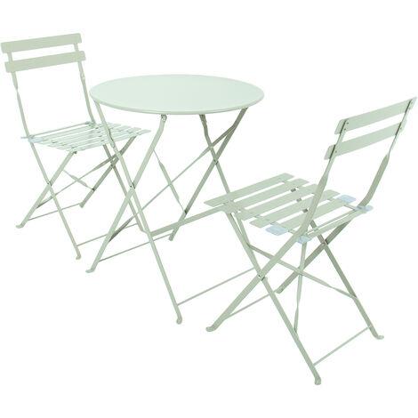 Charles Bentley 3 Piece Metal Bistro Set Garden Patio Table 2 Chairs - 5 Colours
