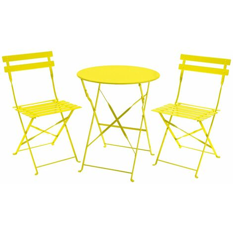 Charles Bentley 3 Piece Metal Bistro Set Garden Patio Table 2 Chairs - 5 Colours