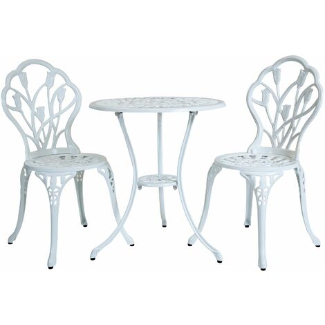 Charles Bentley 3 Piece Tulip Cast Aluminium Patio Bistro Set Table
