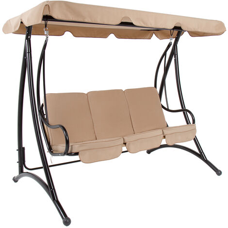 Charles Bentley 3 Seater Premium Outdoor Swing Seat Bench Chair w/ Beige Canopy - Beige