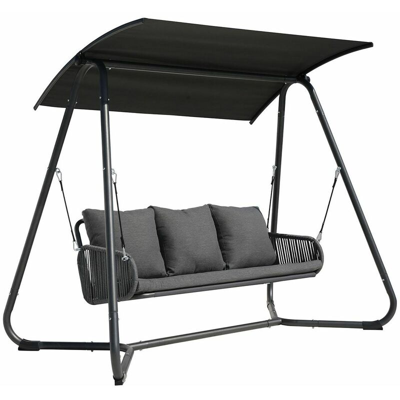 Image of 3 Seater Rope and Steel Garden Swing for Garden or Patio Grey - Gray - Charles Bentley