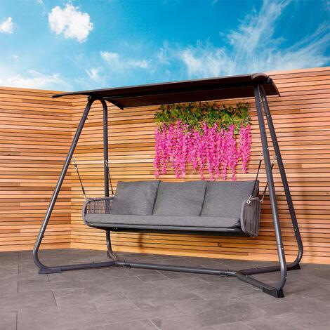 Charles Bentley 3 Seater Rope and Steel Garden Swing for Garden or Patio Grey - Dark Grey