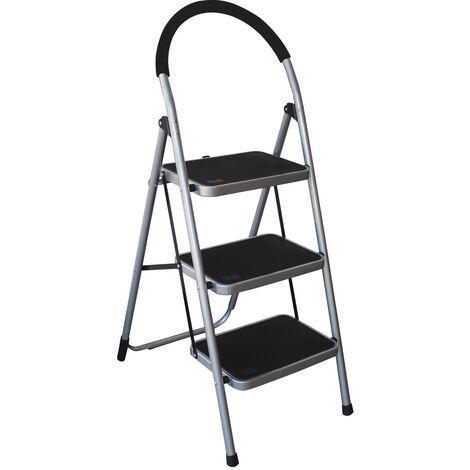Charles Bentley 3 Step Tread Folding Household Step Ladder Lightweight Kitchen - Grey