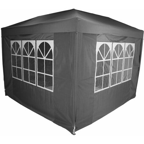 Charles Bentley 3 x 3m Pop Up Gazebo With 4 Sides with Carry Bag - Grey - Gray