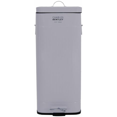 Charles Bentley 30 Litre Steel Square Retro Kitchen Pedal Waste Bin