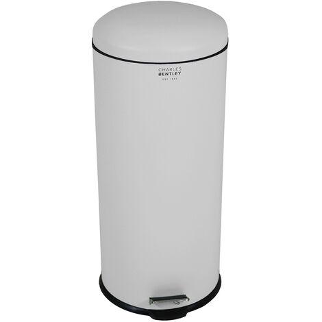 Charles Bentley 30L Dome Bin Matte Grey Kitchen Pastel Pedal Soft Close Medium - Grey