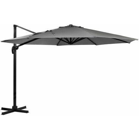 Charles Bentley 3.5M XLarge Hanging Banana Umbrella Parasol Black, Grey Or Beige