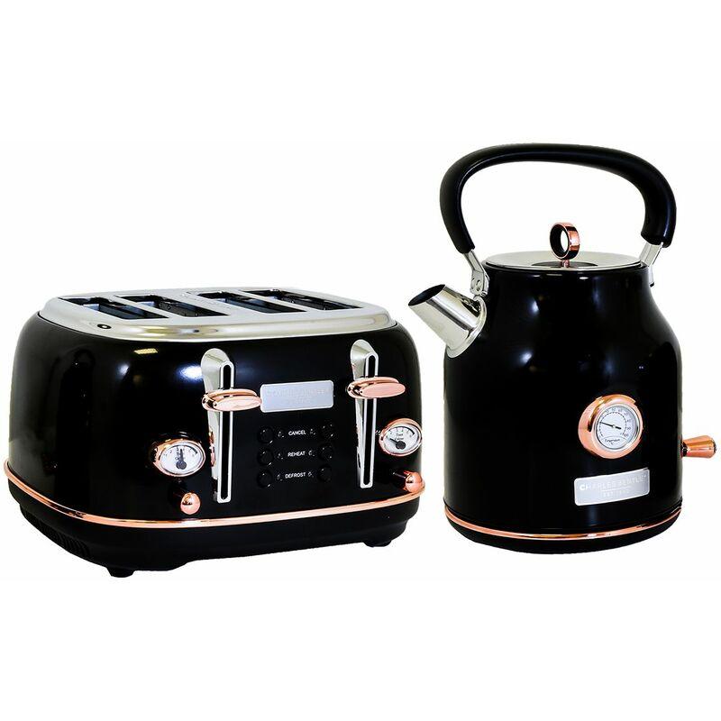 Image of 1.7L Kettle & 4 Slice Toaster Set Black & Rose Gold Fast Boil - Black, Rose Gold - Charles Bentley