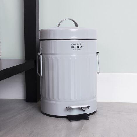 Charles Bentley 3L Retro Steel Waste Rubbish Kitchen Bathroom Mini Pedal Bin