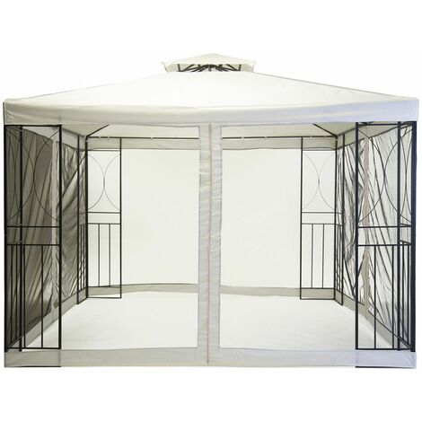 Charles Bentley 3m x 3m Steel Art Cream Gazebo Party Tent With Fly Screen - Off-White