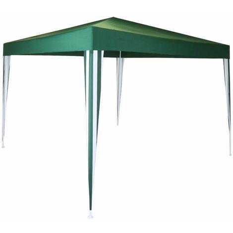 Charles Bentley 3x3m Polyester Gazebo Green/Stripe Showerproof - GREEN, WHITE