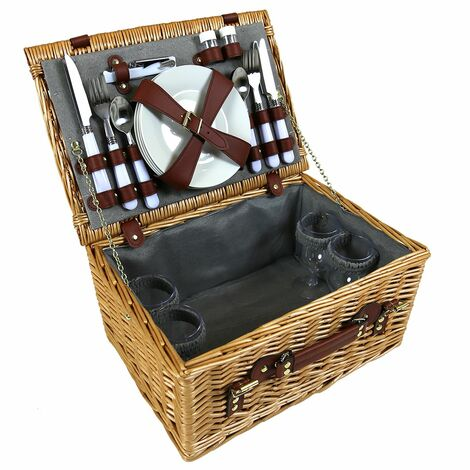 Charles Bentley 4 Person Wicker Picnic Basket Including Cutlery, Plates, Glasses