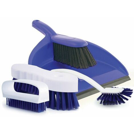 Charles Bentley 4 Piece Colour Coded Home Kitchen Cleaning Set Dustpan & Brush
