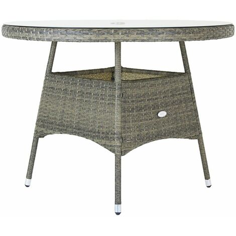 """main image of """"Charles Bentley 4 Seater Round Rattan Dining Table - Grey / Natural"""""""
