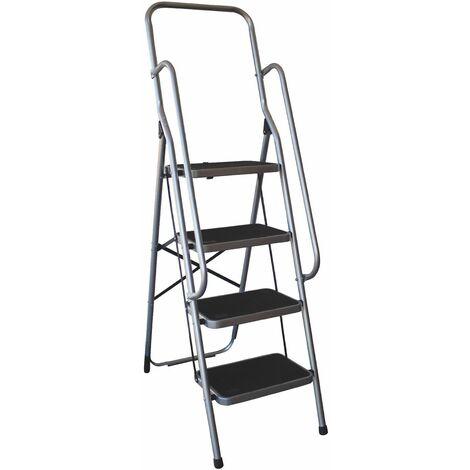 Charles Bentley 4 Step Folding Ladder With Safety Handrail Lightweight Non Slip - Grey