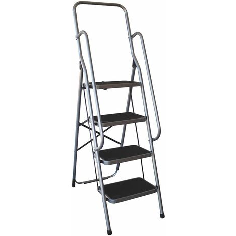 Charles Bentley 4 Step Folding Ladder With Safety Handrail Lightweight Non Slip - Grey