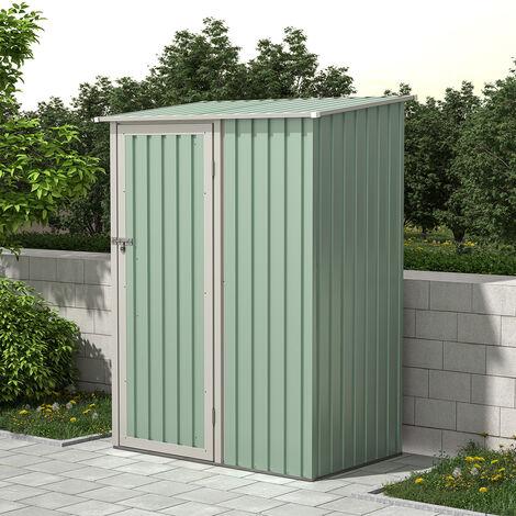 Charles Bentley 4.7ft x 3ft Metal Storage Shed Grey Small Roof Door Apex