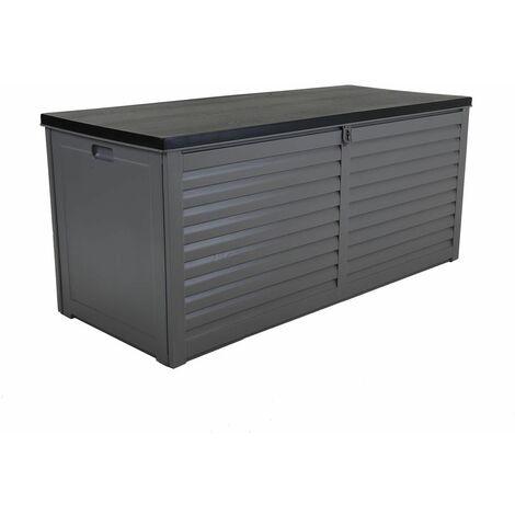 Charles Bentley 490L Large Outdoor Garden Plastic Storage Box, Grey/Black - Black, Grey