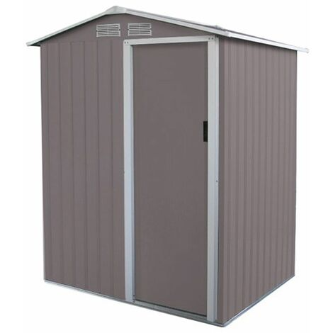 Charles Bentley 4.9ft x 4.3ft Metal Storage Shed Grey Small Apex H186 x W150 cm