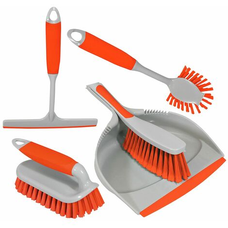 Charles Bentley 4pc Kitchen Cleaning Set Dustpan & Brush - Various Colours