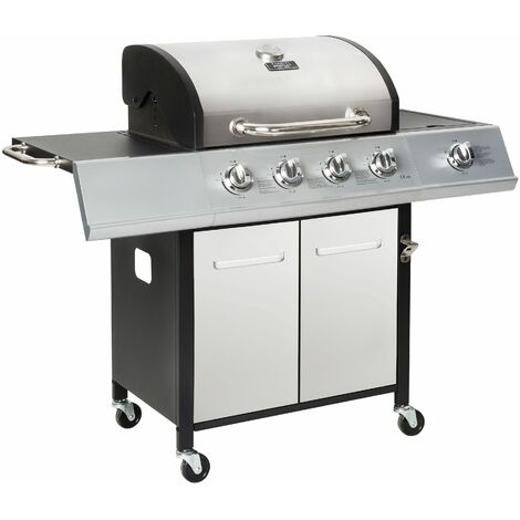 Charles Bentley 5 Burner (4+side) Premium Gas BBQ - Stainless Steel