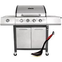 Charles Bentley 5 Burner Premium Gas BBQ 4 Burner Grey Includes BBQ Grill Brush