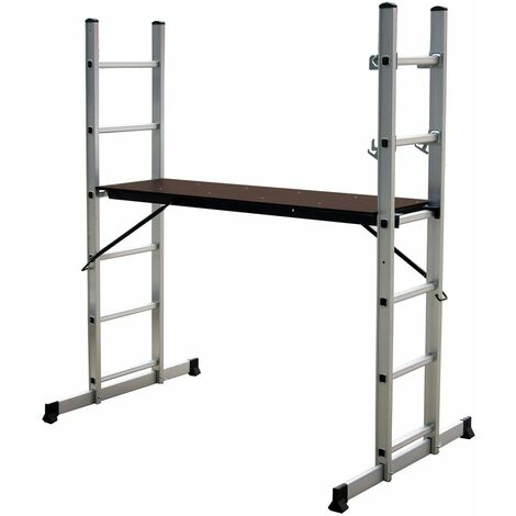 Charles Bentley 5 Way Aluminium Multi Purpose Scaffolding Ladder Step Platform