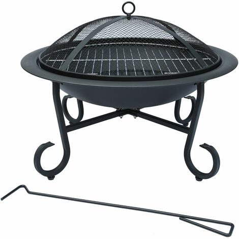 Charles Bentley 56cm Round Outdoor Garden Patio Fire Pit Heater Open Bowl Black