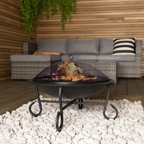 Charles Bentley 56cm Round Outdoor Garden Patio Fire Pit Heater Open Bowl Black - Black