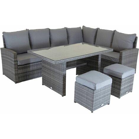 Charles Bentley 6 Seater Multifunctional Casual Rattan Dining Set - Light Grey - Grey