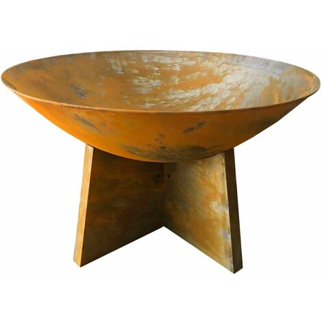 Charles Bentley 60cm Oxidised Rust Finish Fire Pit Minimalist Design Outdoor Use - Rust