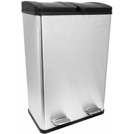 Charles Bentley 60L Stainless Steel Recycle Pedal Bin with 2 Compartments - Silver