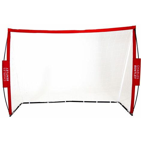 Charles Bentley 7x5ft Portable Foldable Red Football Kick Goal With Carry Bag