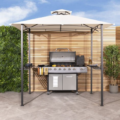 Charles Bentley 8 X 5Ft Steel Grill Gazebo Outdoor Tent Shelter - Beige & Grey