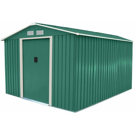 Charles Bentley 8ft x 10ft Metal Garden Shed Outdoor Storage