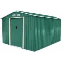 Charles Bentley 8Ft X 10Ft Metal Garden Storage Outdoor Shed Zinc Frame - Green