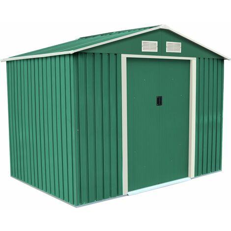 Charles Bentley 8ft x 6ft Dark Green Metal Garden Storage Shed Zinc Floor Frame - Green