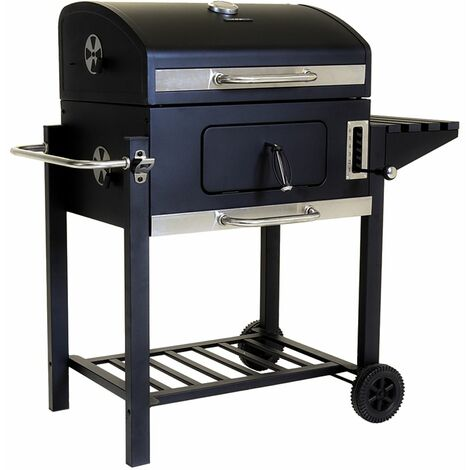 Charles Bentley American Large Portable Grill Charcoal BBQ 60x 45cm Cooking Area - Black